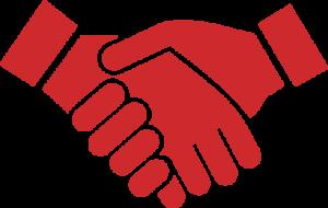 Two businessmen hands salutation